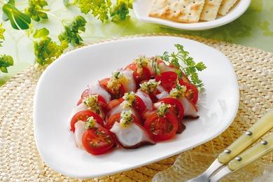 たことトマトのカルパッチョ