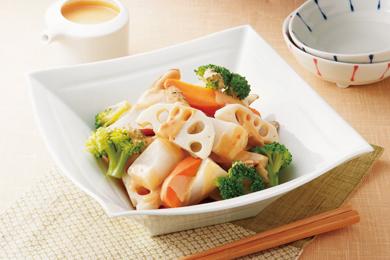 根菜の温サラダ 練りごまソース