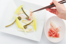 山菜と鯛と生ハムのカルパッチョ仕立て